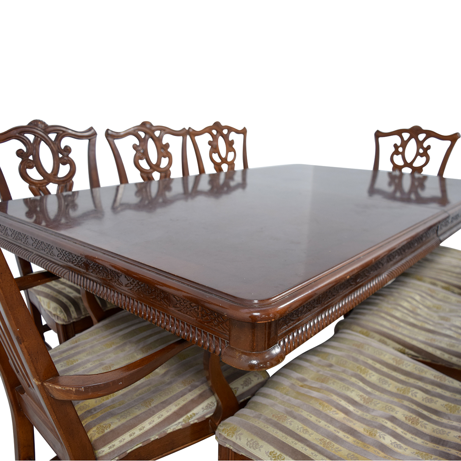 ... Buy Carved Wood Dining Set With Two Extensions And Eight Chairs Tables  ...