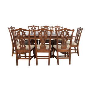Carved  Wood Dining Set with Two Extensions and Eight Chairs