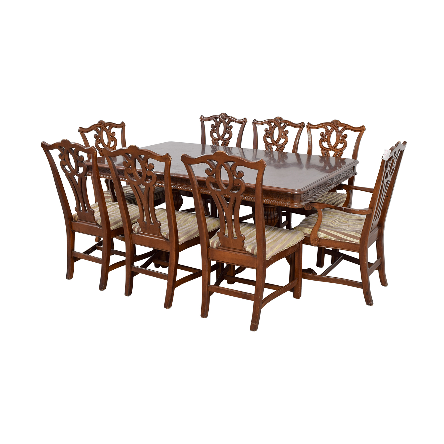 90 Off Carved Wood Dining Set With Two Extensions And