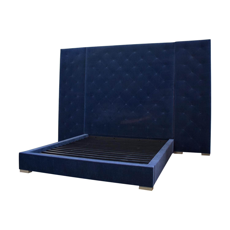 buy Restoration Hardware Blue Tufted King Platform Bed Frame Restoration Hardware Bed Frames
