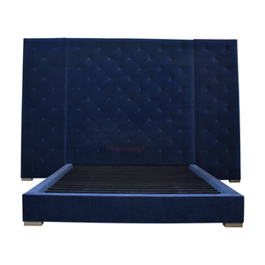 Restoration Hardware Restoration Hardware Blue Tufted King Platform Bed Frame second hand