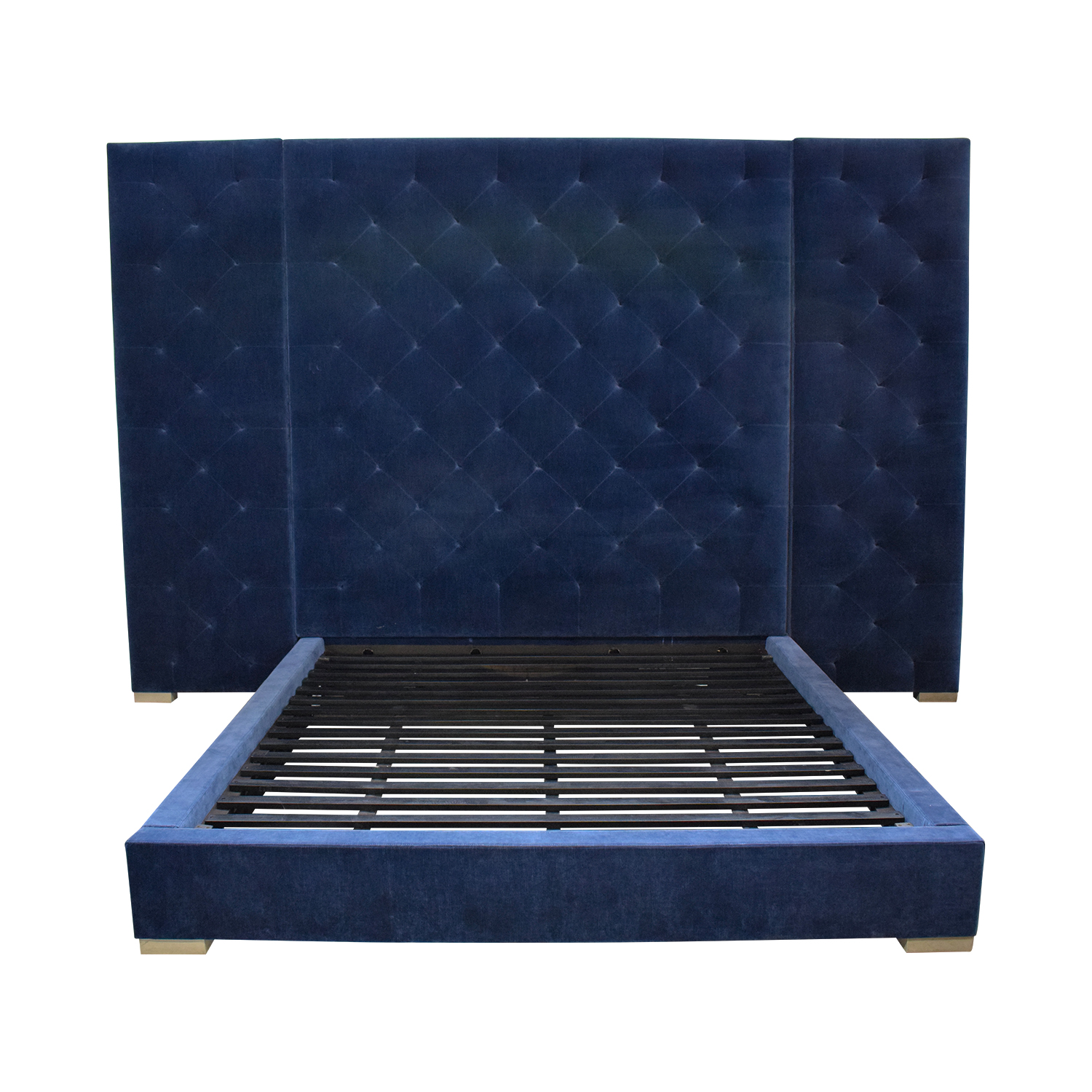 Restoration Hardware Restoration Hardware Blue Tufted King Platform Bed Frame price