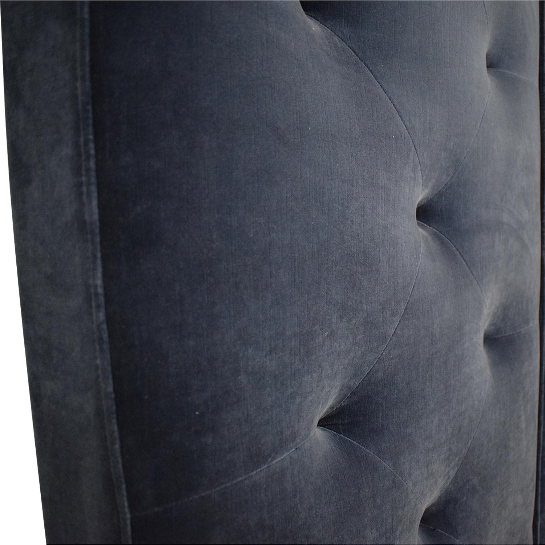 Restoration Hardware Blue Tufted King Platform Bed Frame / Beds