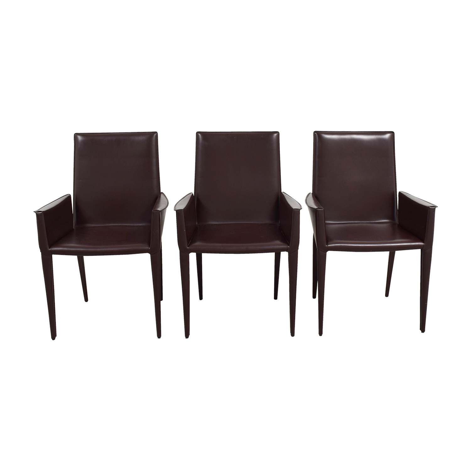 CB2 CB2 Brown Arm Chairs