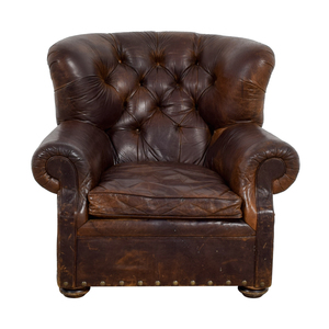 Restoration Hardware Brown Leather Accent Chair sale