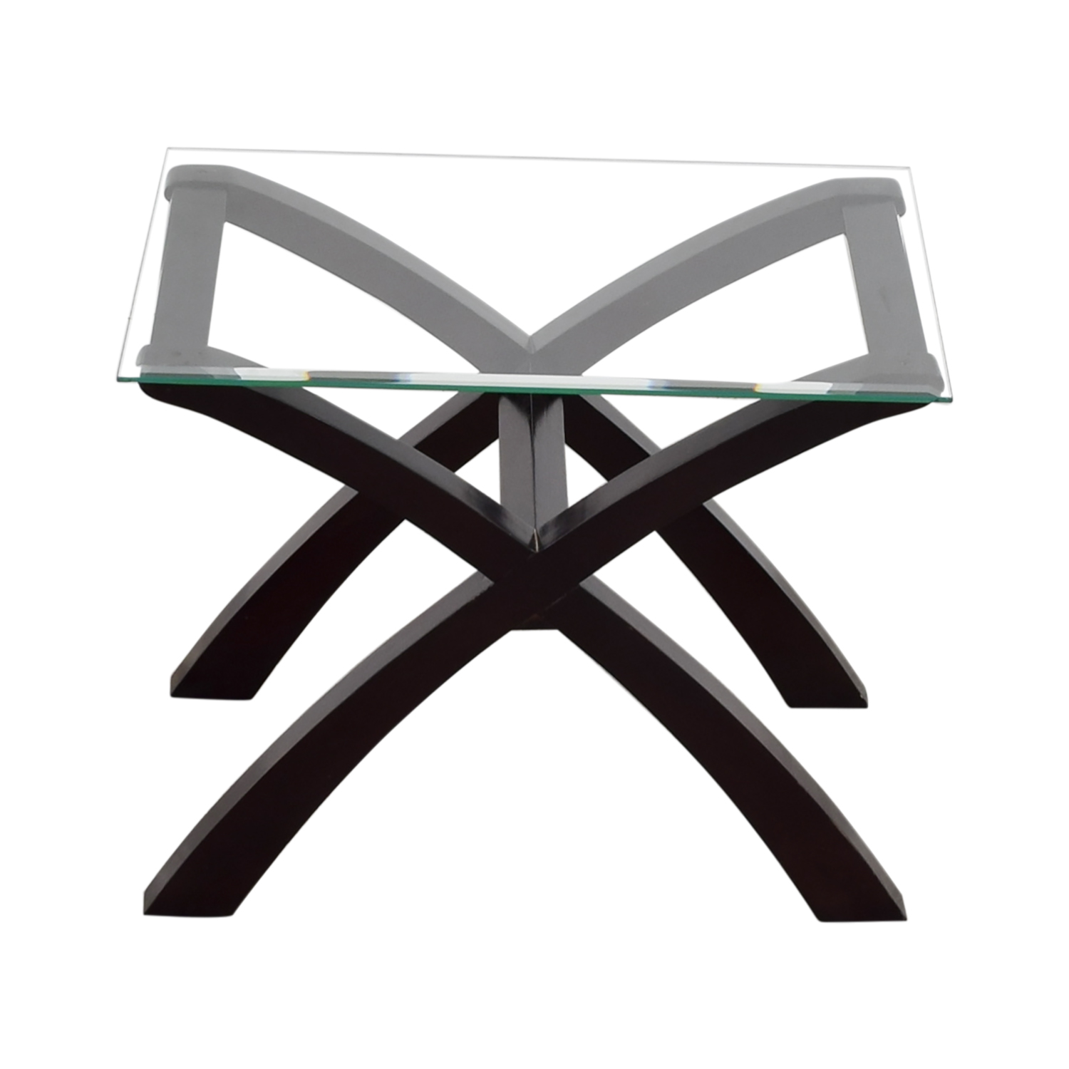 buy Cherry Wood Base and Glass Top End Table End Tables