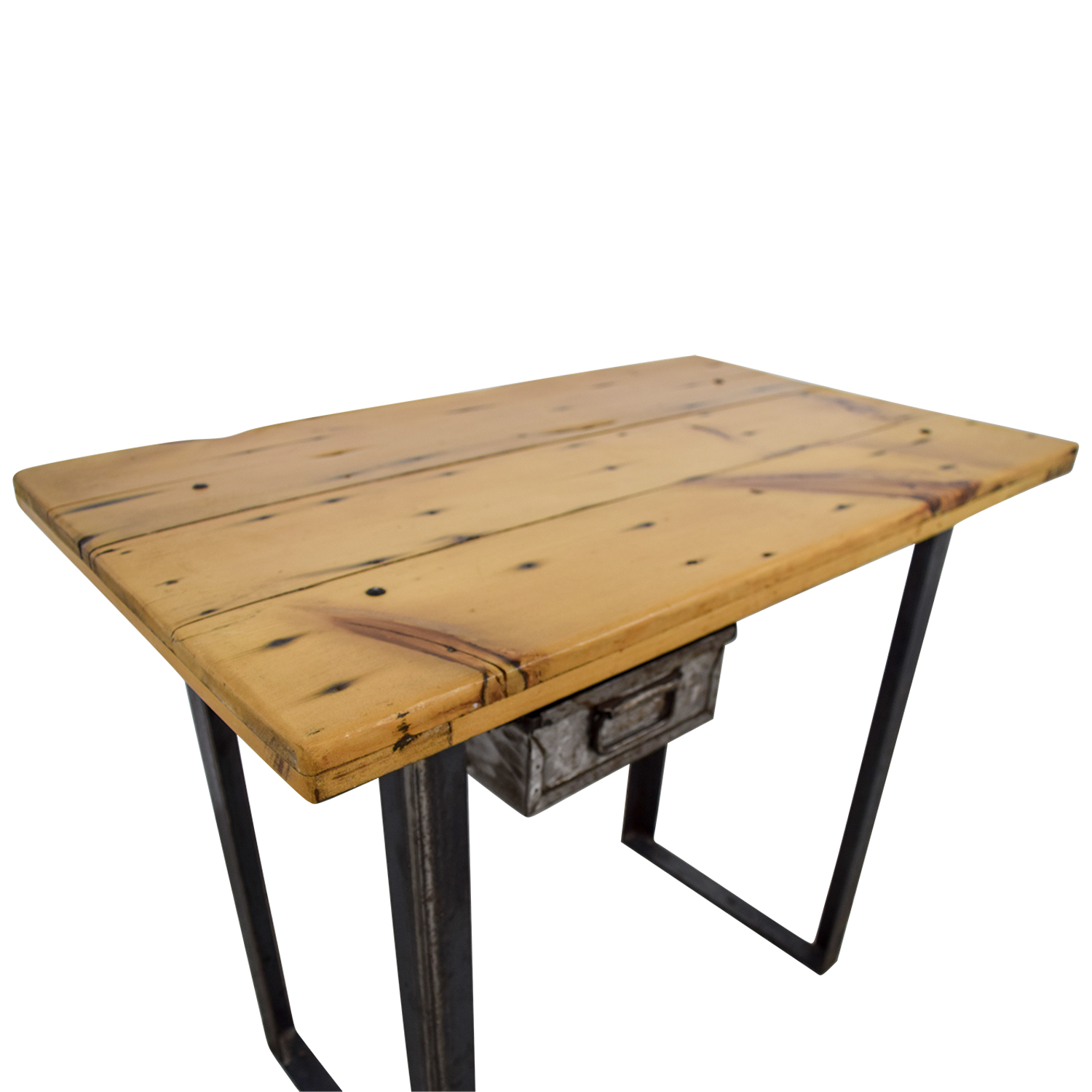 88 Off Rustic Wood Table With Metal Drawer Tables