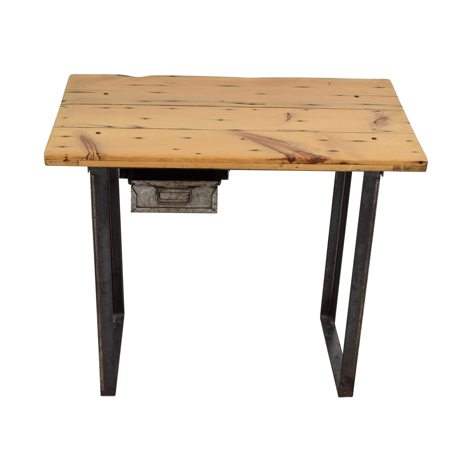 Rustic Wood Table with Metal Drawer / Utility Tables