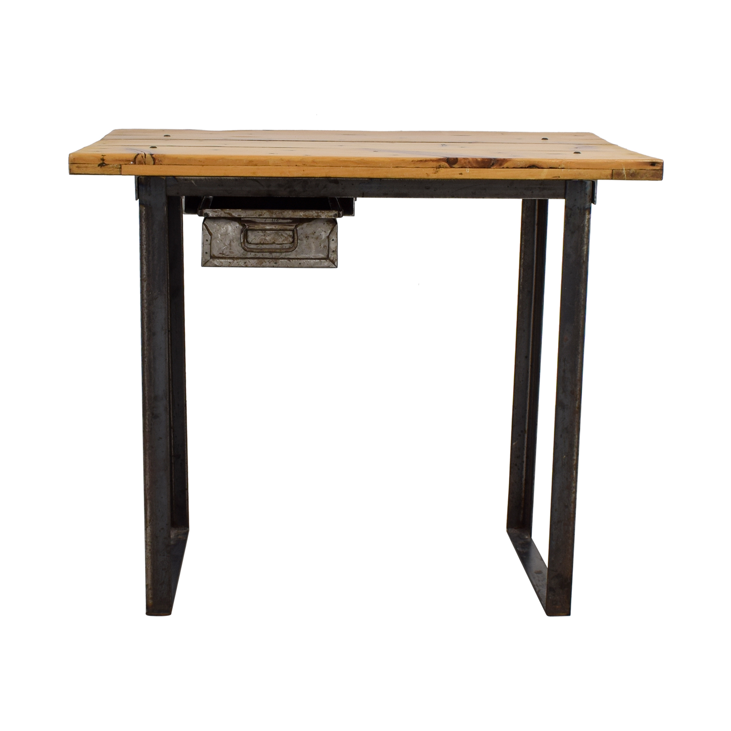 buy Rustic Wood Table with Metal Drawer Utility Tables