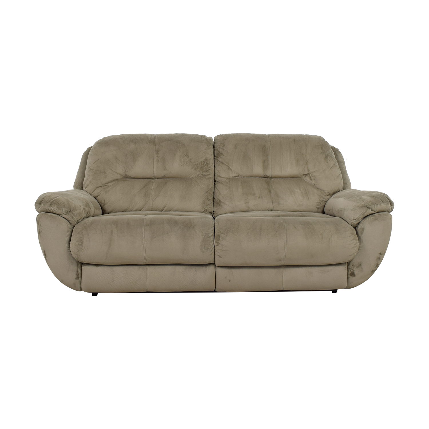 Raymour & Flanigan Raymour & Flanigan Grey Micro-Suede Power Reclining Sofa GREY