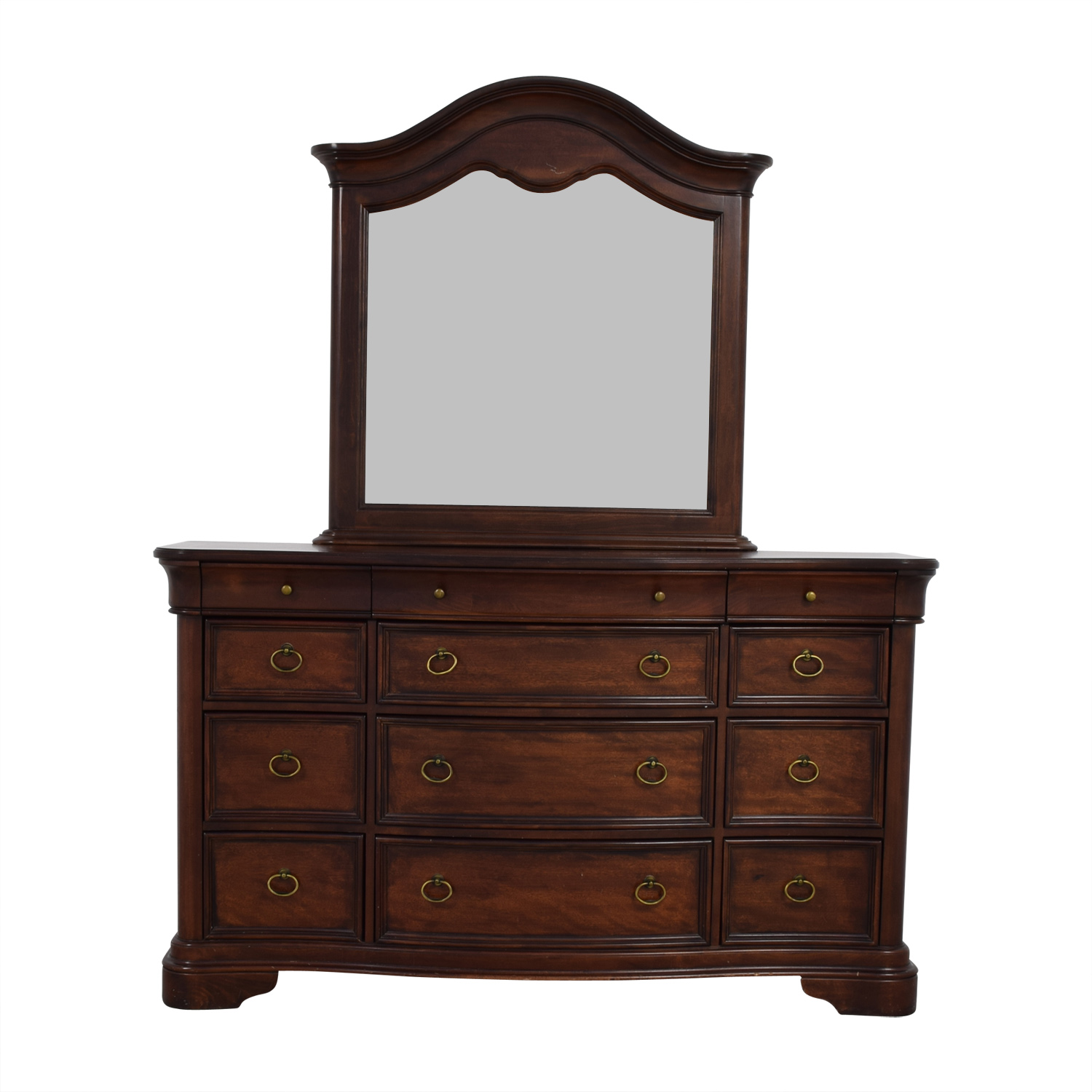 Raymour & Flanigan Raymour & Flanigan Wood Twelve-Drawer Dresser with Mirror nyc