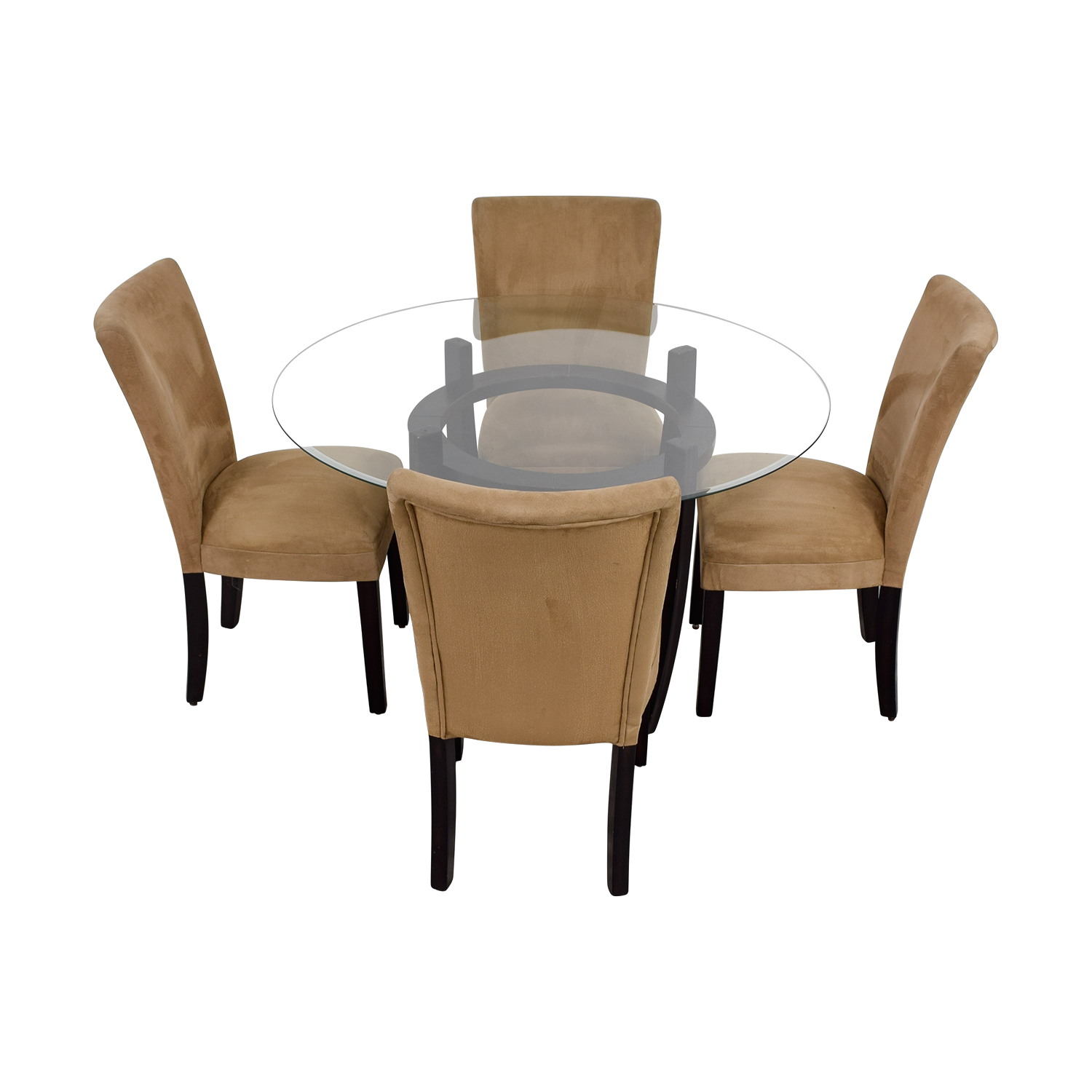 shop Coaster Round Glass Dining Set with Tan Chairs Coaster Dining Sets