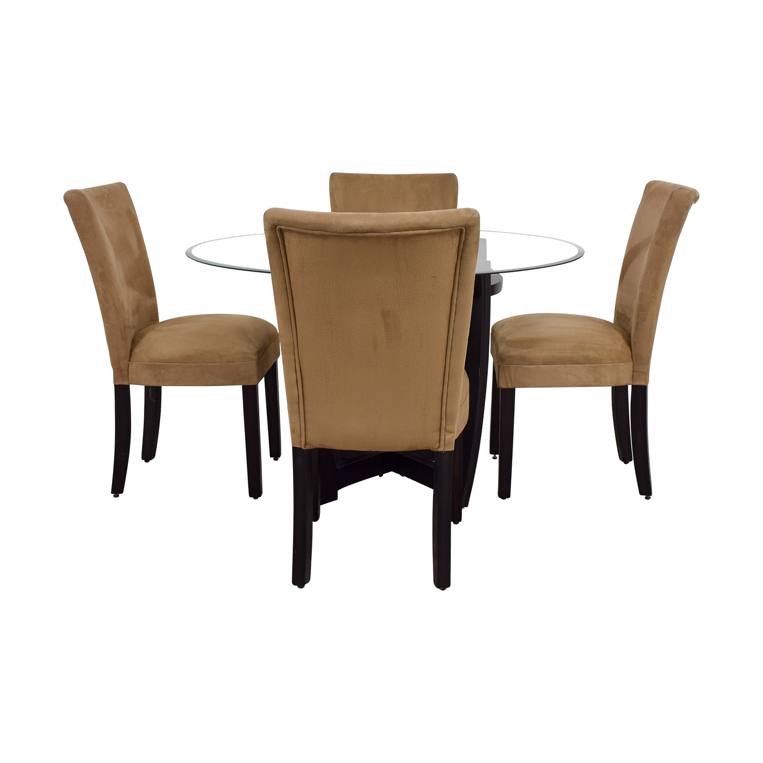 buy Coaster Coaster Round Glass Dining Set with Tan Chairs online