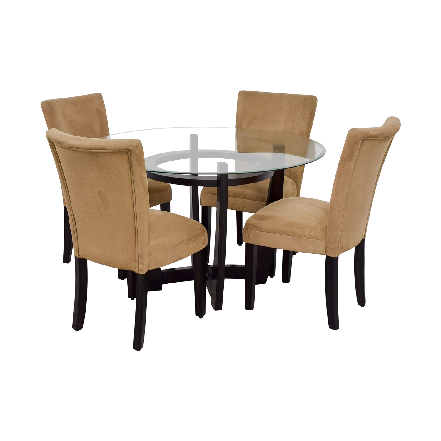 Coaster Coaster Round Glass Dining Set With Tan