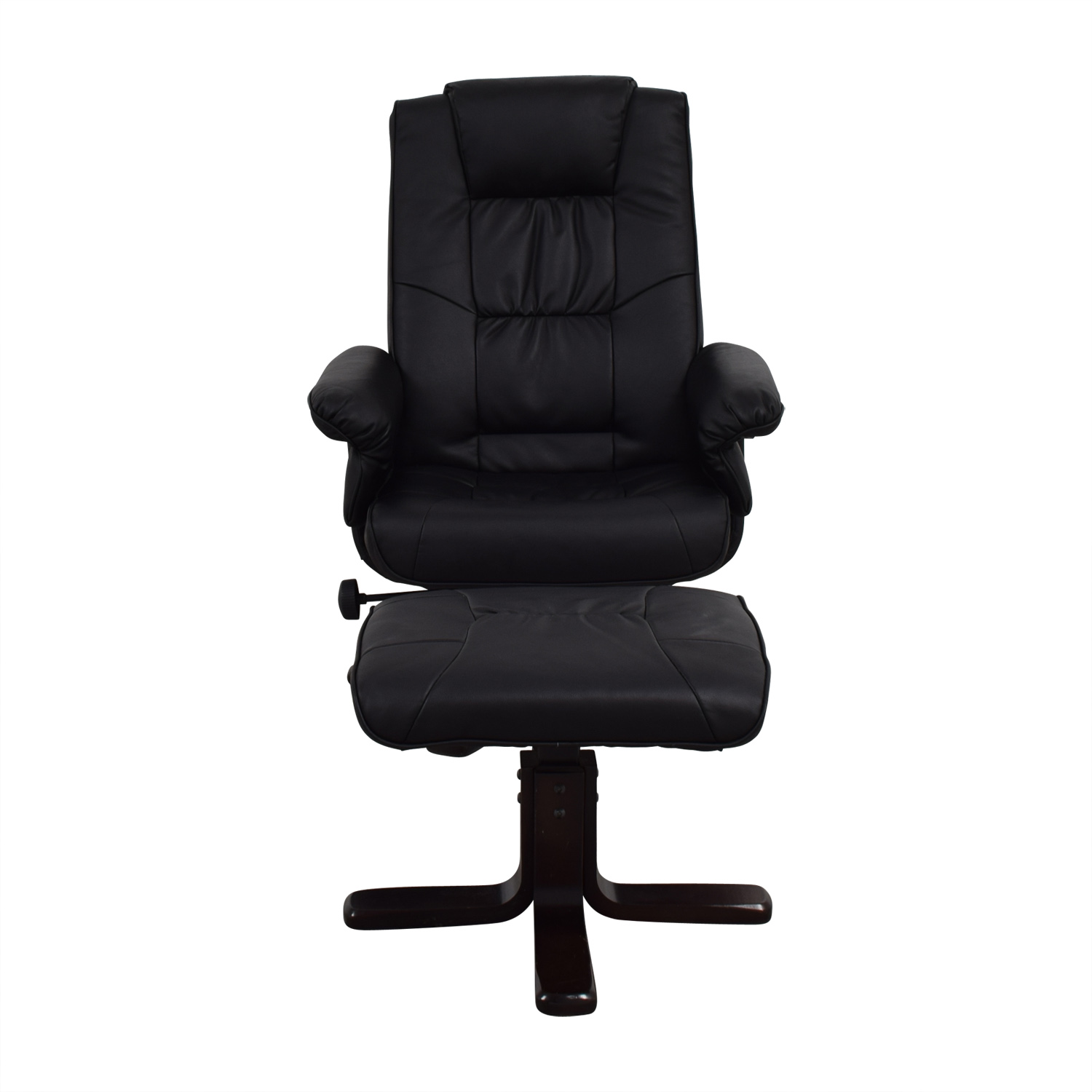 Coaster Black Reclining Chair and Foot Stool Coaster