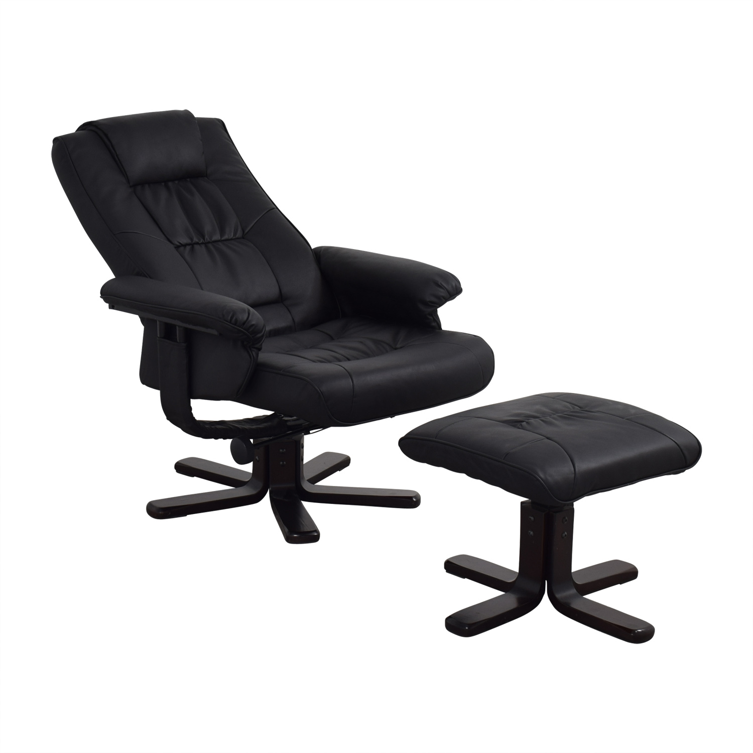 Coaster Black Reclining Chair And Foot Stool Chairs