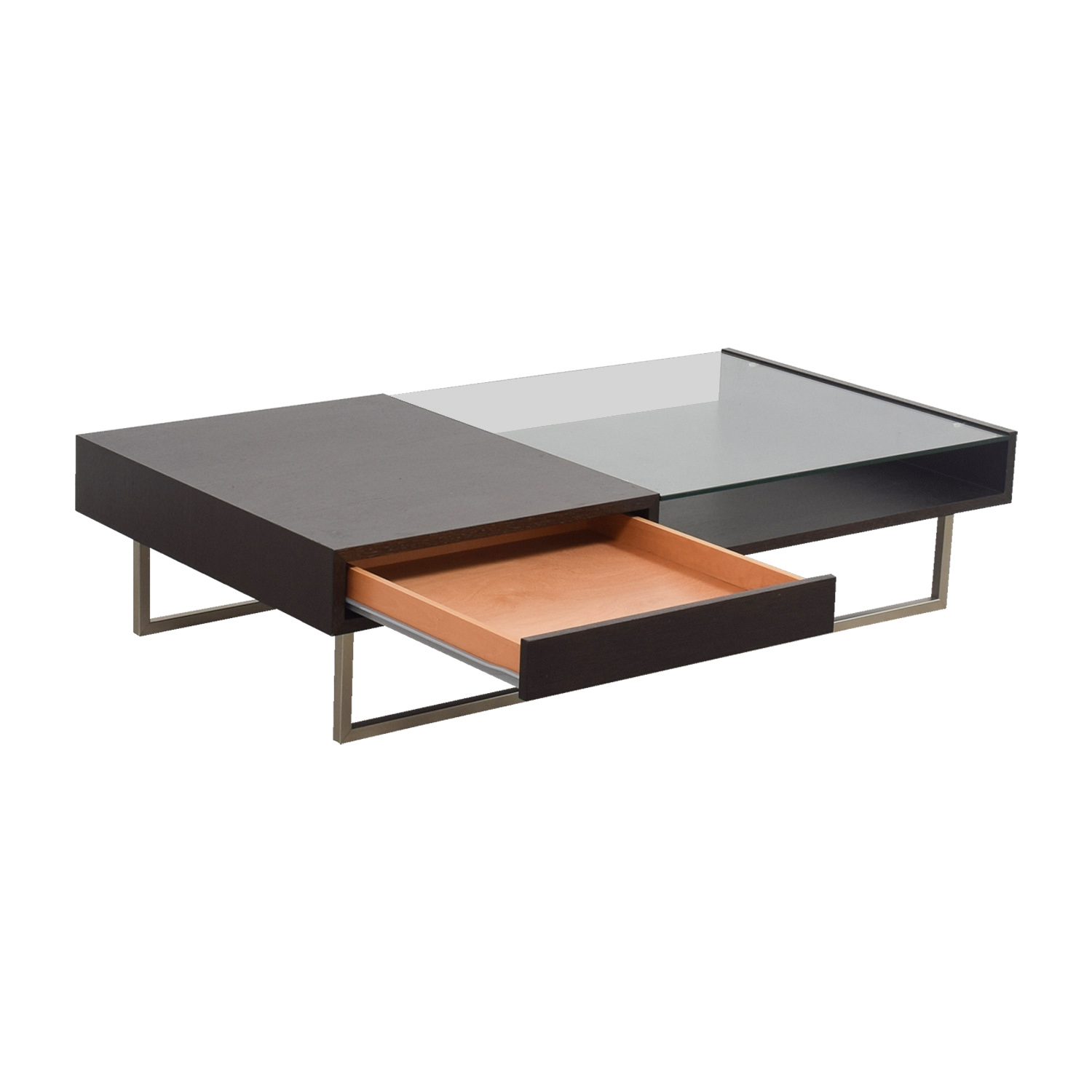54 off natuzzi italia natuzzi walnut glass coffee table tables Used glass coffee table