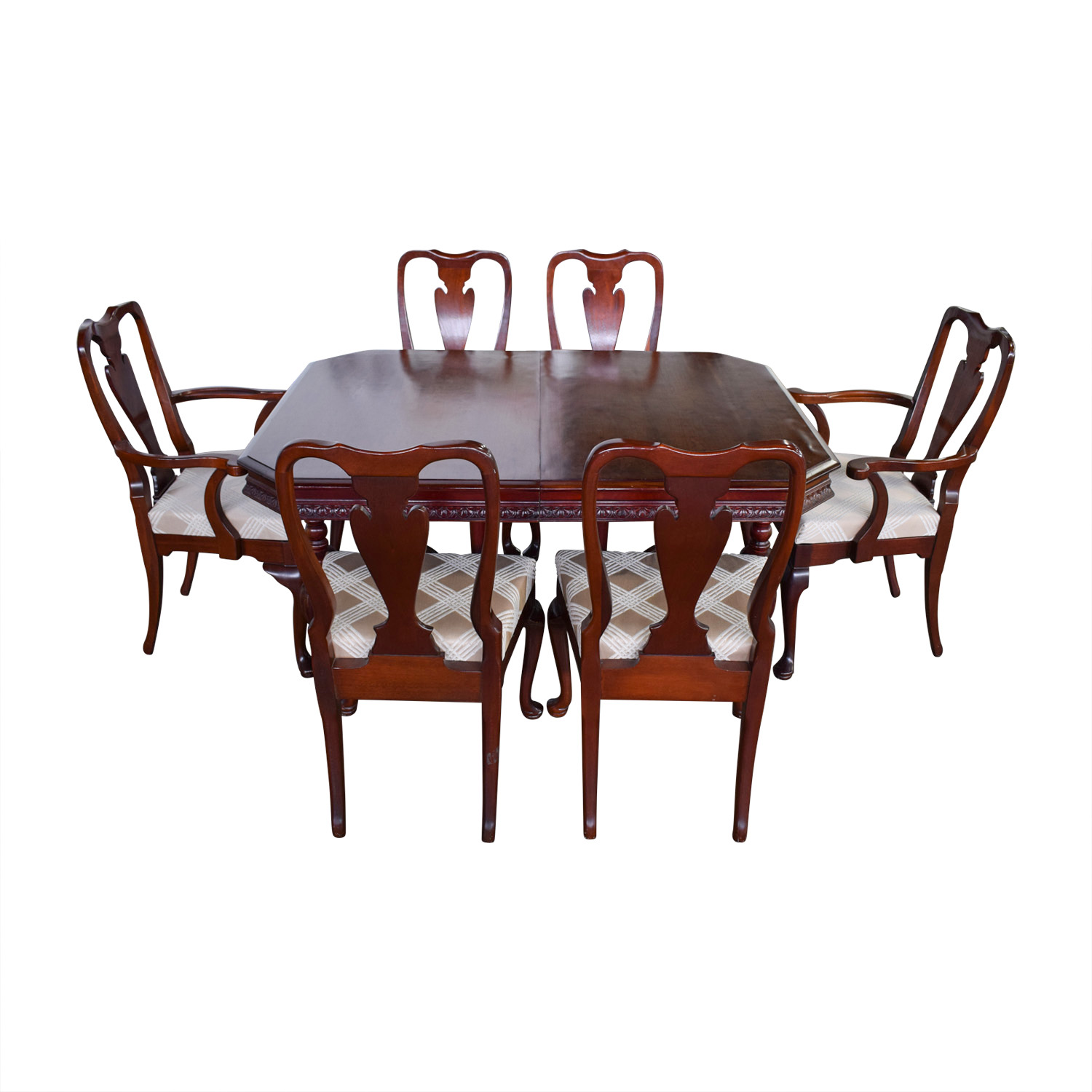 Mahogany Carved Wood Dining Set with Tan and White Upholstery