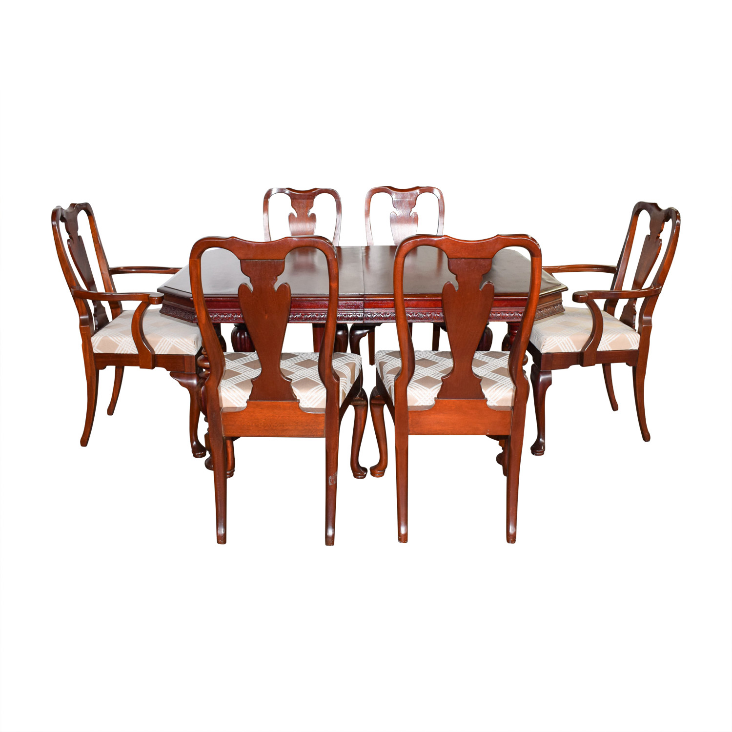 Mahogany Carved Wood Dining Set with Tan and White Upholstery nyc