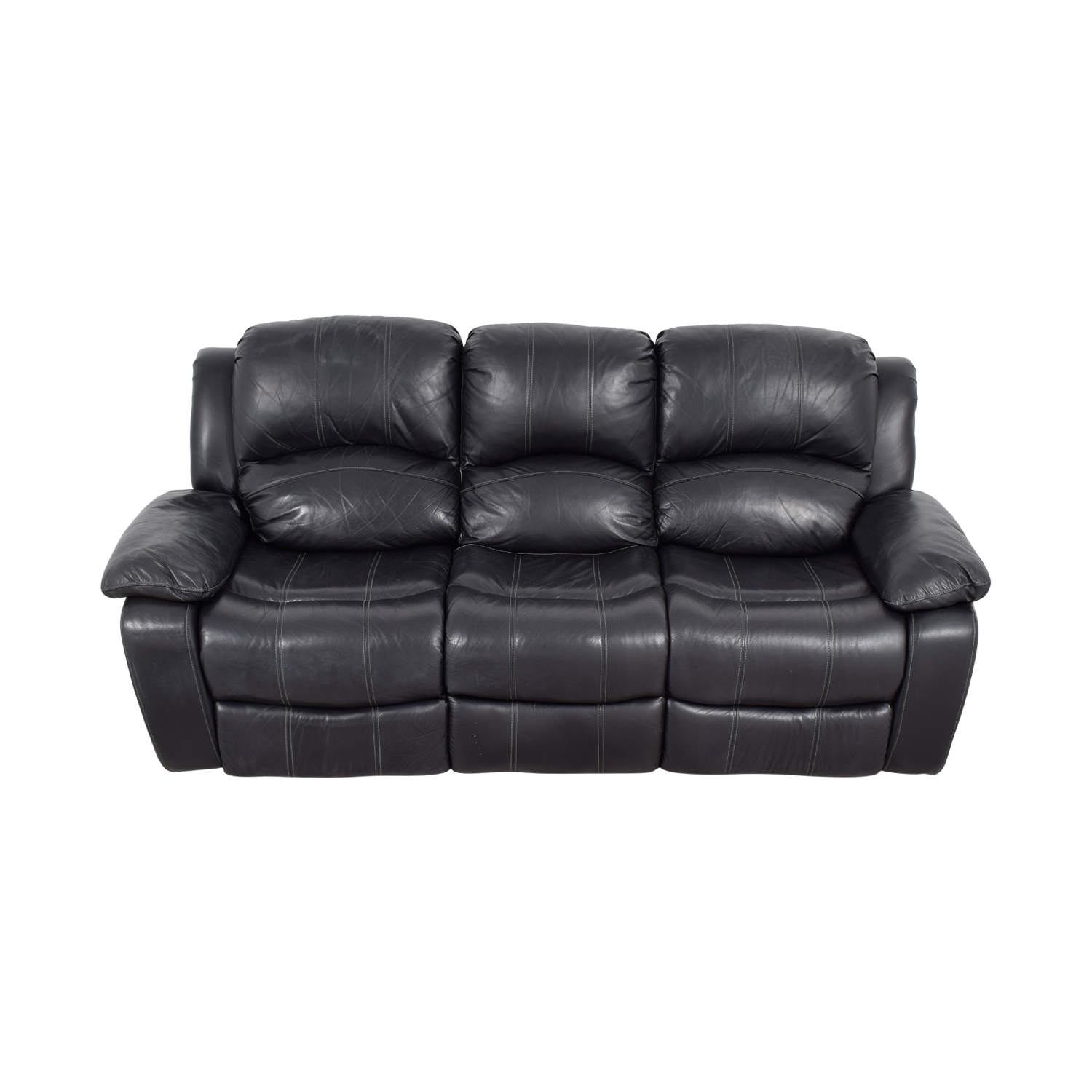 70% OFF - Black Leather Reclining Sofa / Sofas
