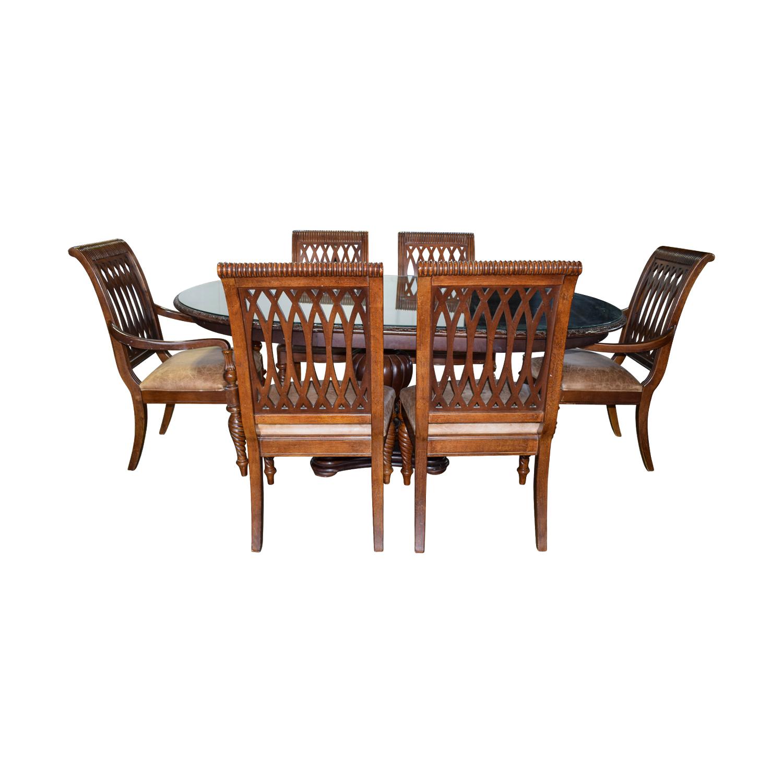 90% OFF   Bernhardt Bernhardt Embassy Row Cherry Carved Wood Dining Set /  Tables