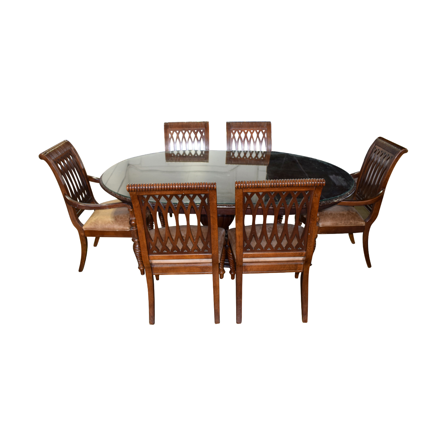 Bernhardt Bernhardt Embassy Row Cherry Carved Wood Dining Set used