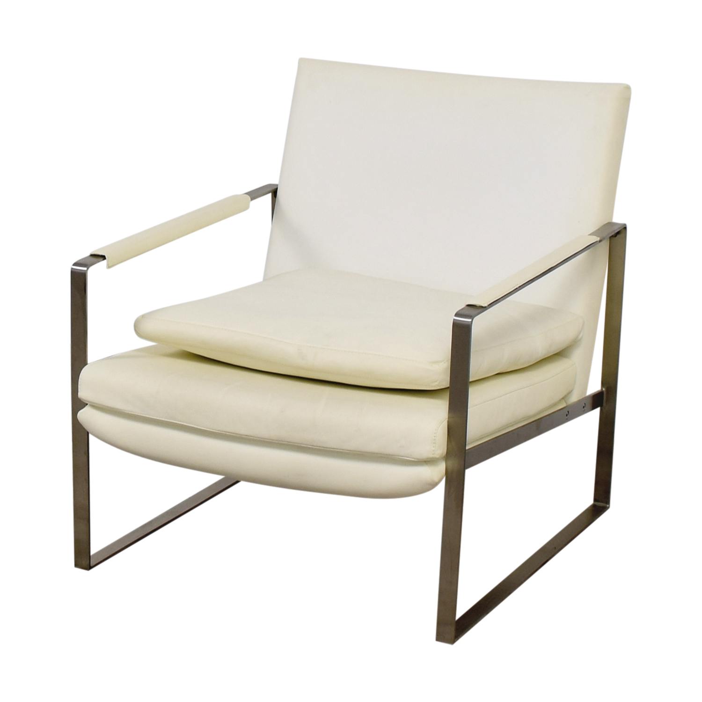 ... Zara Soho Concept Zara Soho Concept White And Chrome Accent Chair With  Pillow Discount ...