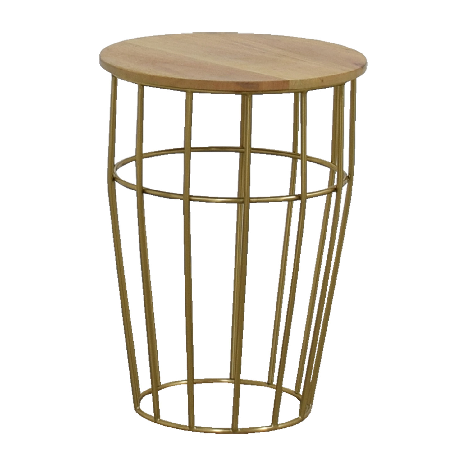 West Elm West Elm Gold And Wood Side Table / Tables