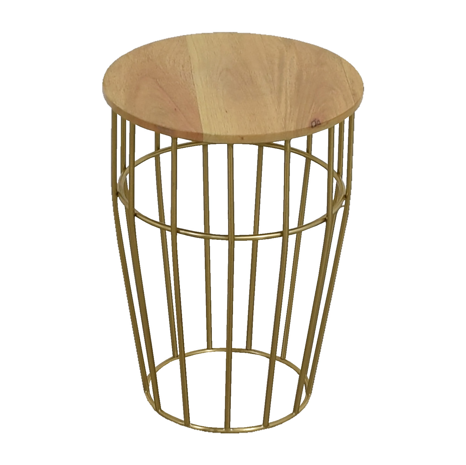 West Elm Gold And Wood Side Table West Elm