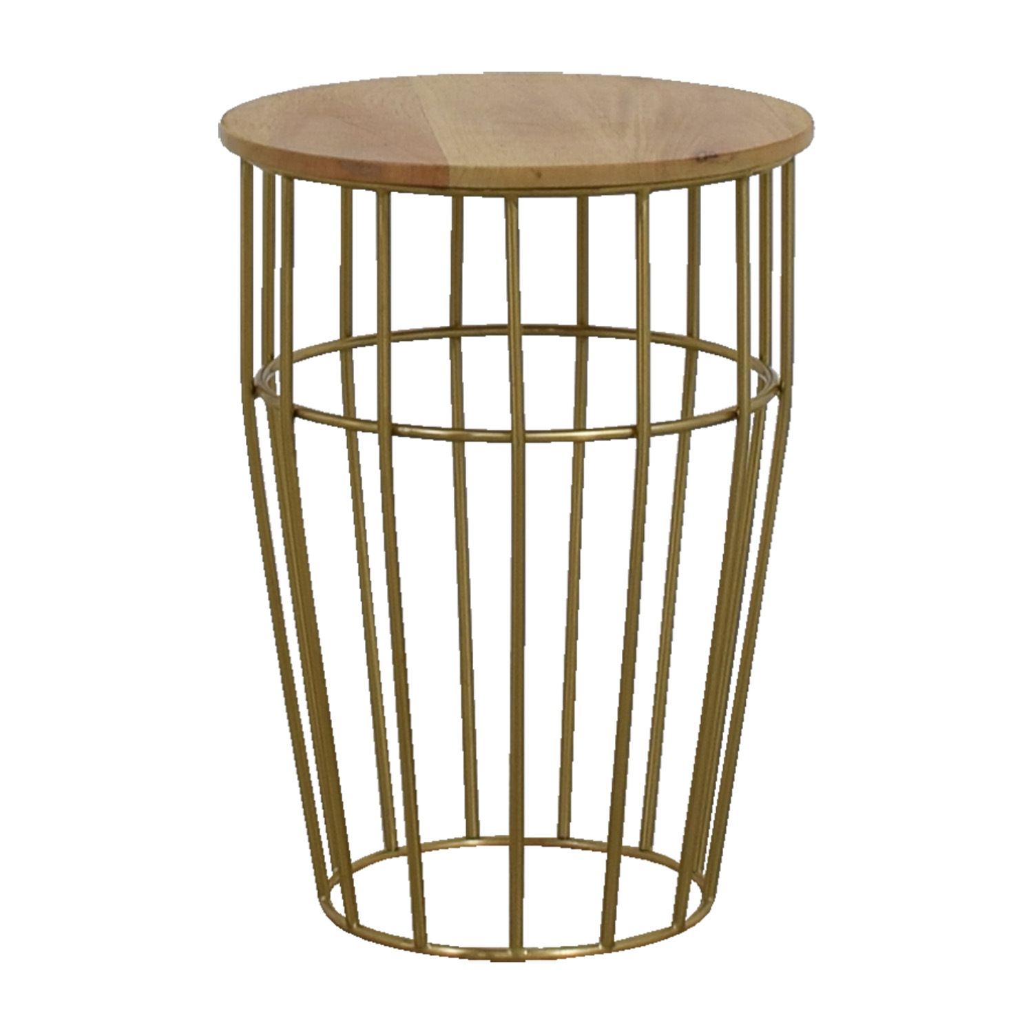 West Elm Gold And Wood Side Table Tables