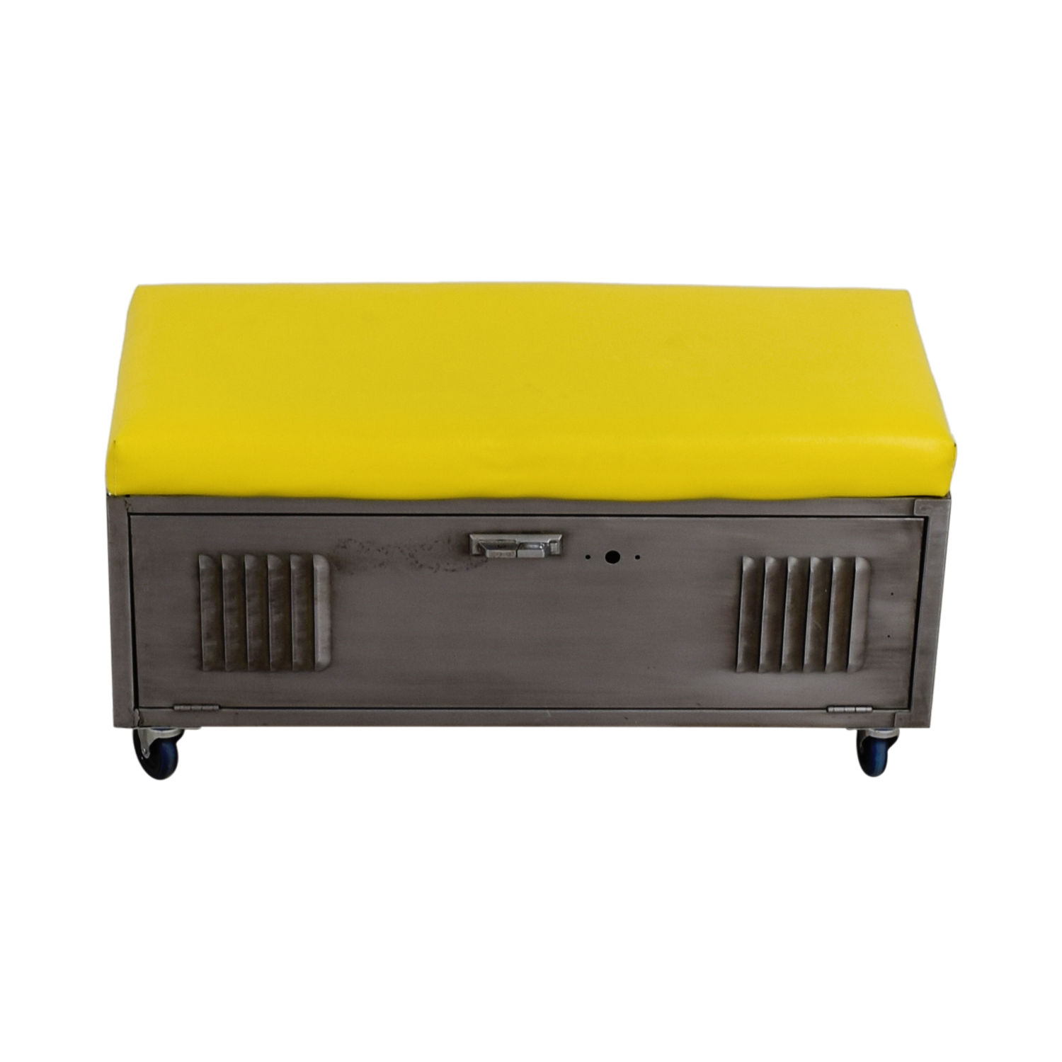 Custom Metal Locker Base Bench on Casters with Yellow Leather Cushion for sale