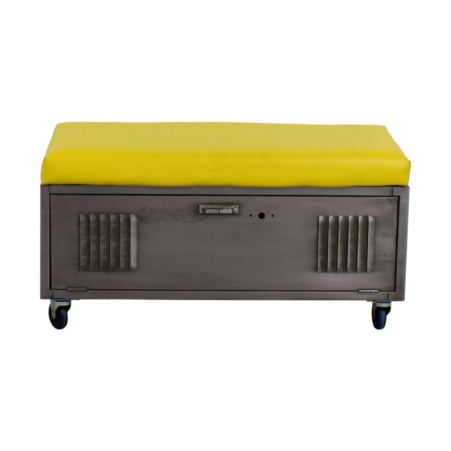 Custom Metal Locker Base Bench on Casters with Yellow Leather Cushion on sale