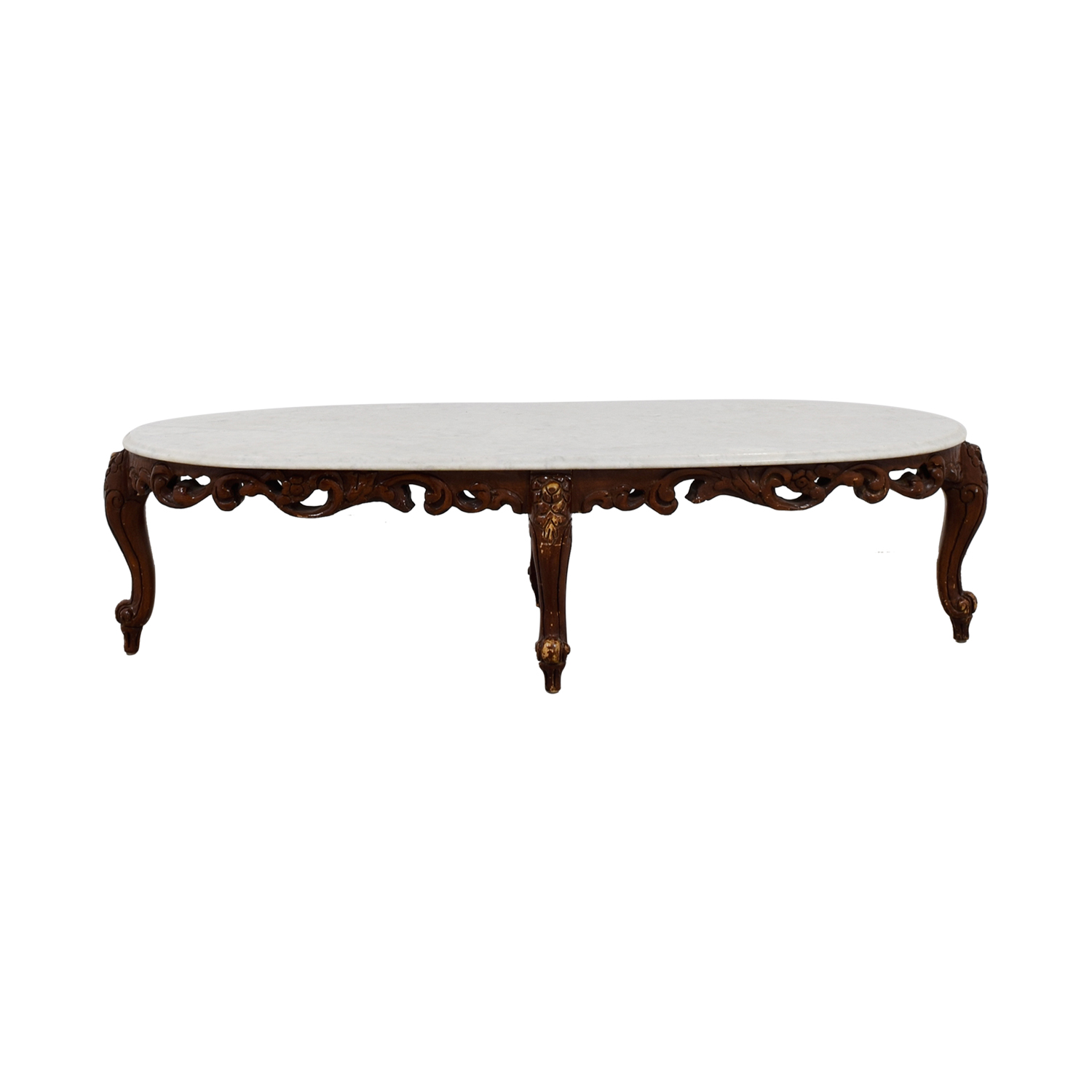 Marble Top and Wood Base Coffee Table