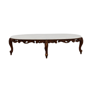 Marble Top and Wood Base Coffee Table nyc