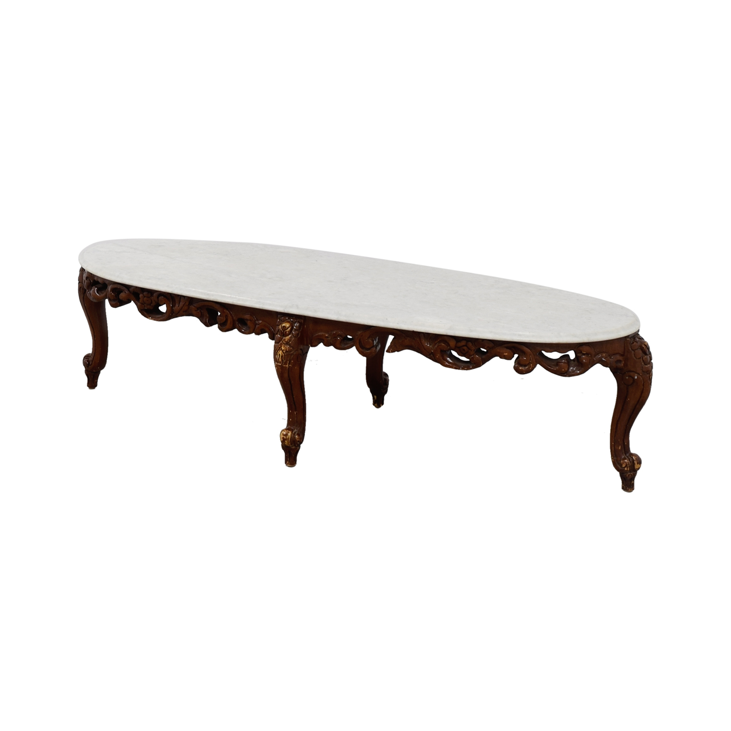 Buy Online Marble Top Coffee Table: Marble Top And Wood Base Coffee Table / Tables