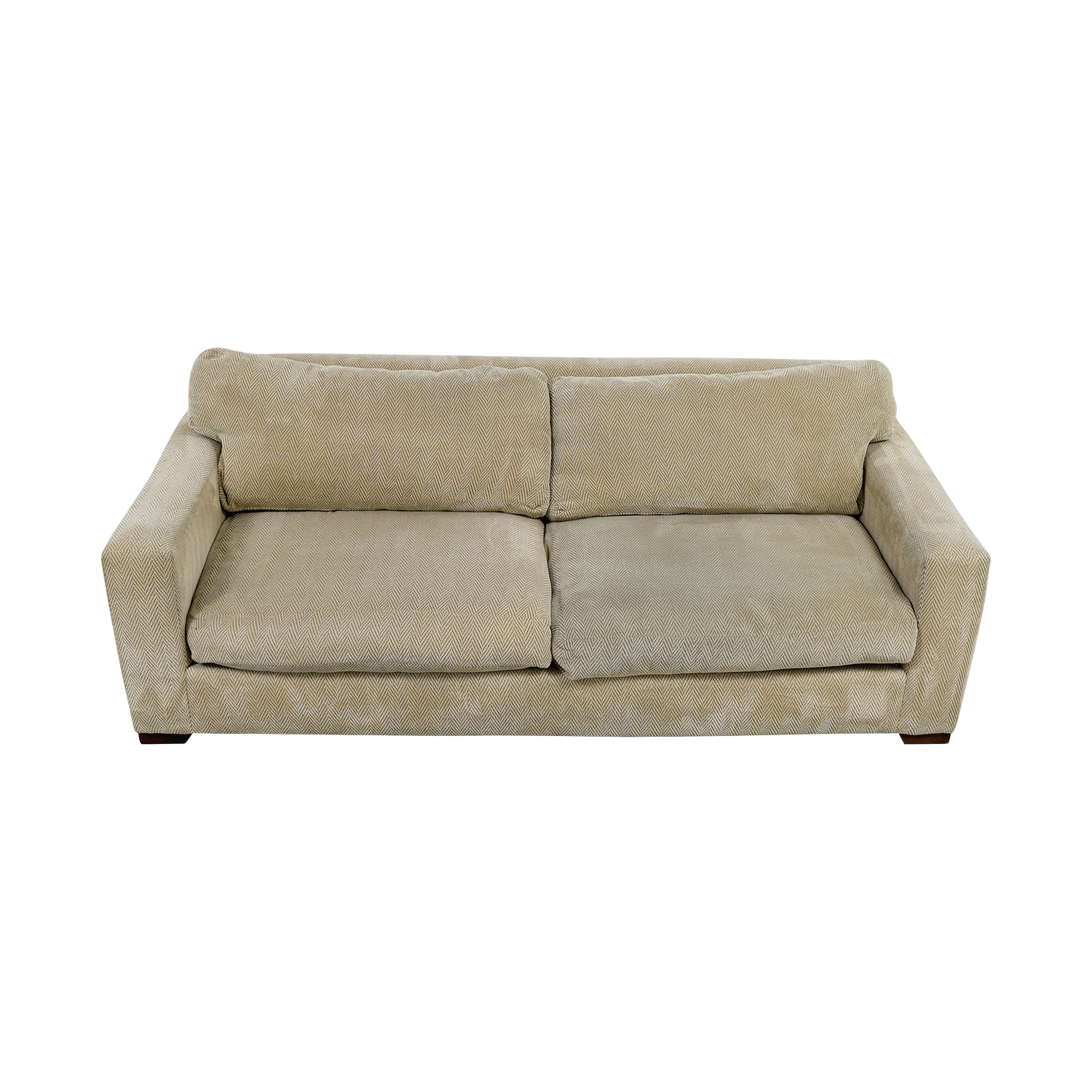 Beige Herringbone Two-Cushion Sofa used