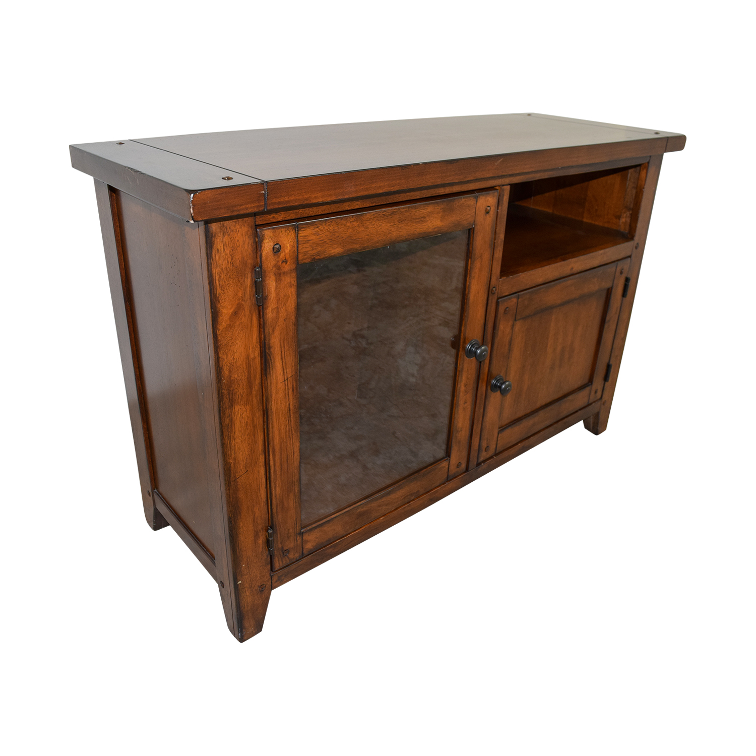 ... Pottery Barn Wood And Glass Media Console / Storage