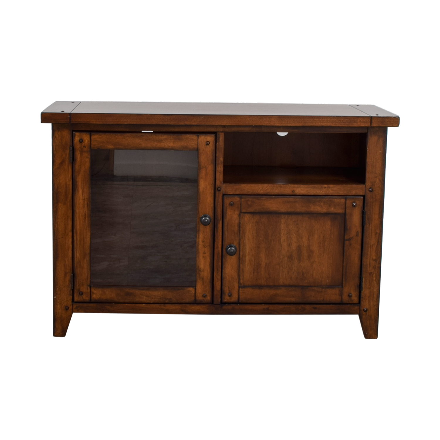 Pottery Barn Pottery Barn Wood and Glass Media Console discount