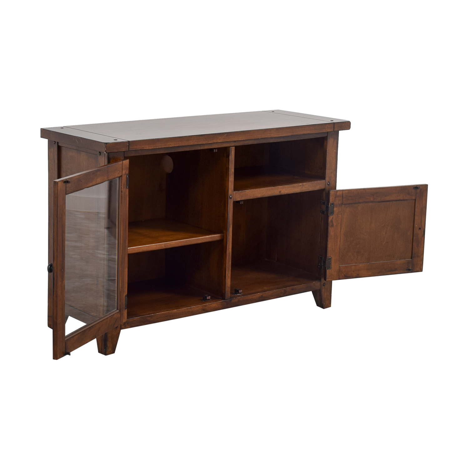 62 Off Pottery Barn Pottery Barn Wood And Glass Media Console Storage