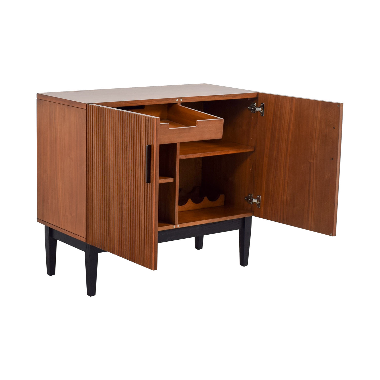 Off west elm wood bar cabinet storage