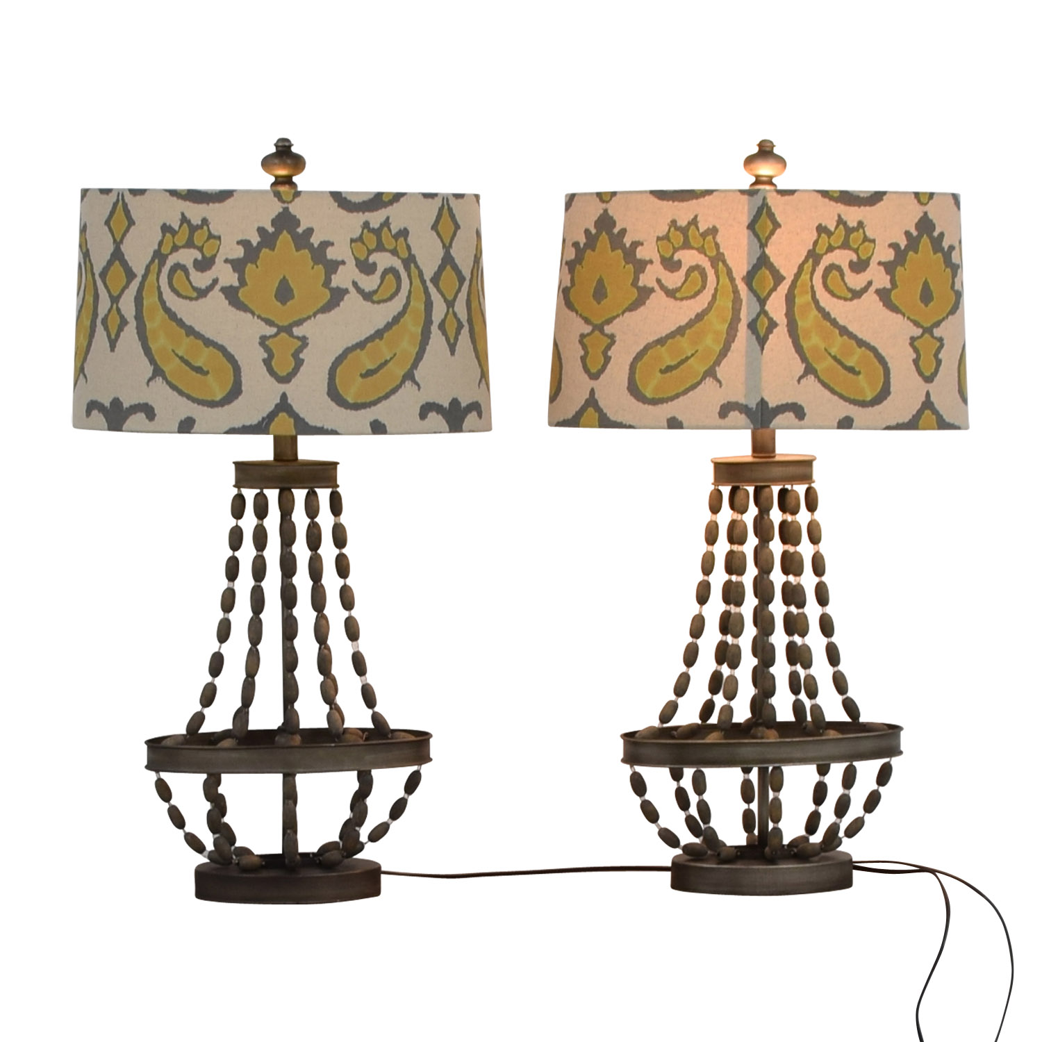 Pier 1 Imports Pier 1 Imports Beaded Lamps With Yellow Grey and White Shades second hand