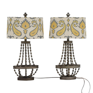 Pier 1 Pier 1 Imports Beaded Lamps With Yellow Grey and White Shades discount