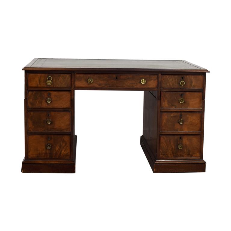 Norman Adams Norman Adams Antique Edwardian Pedestal Desk used