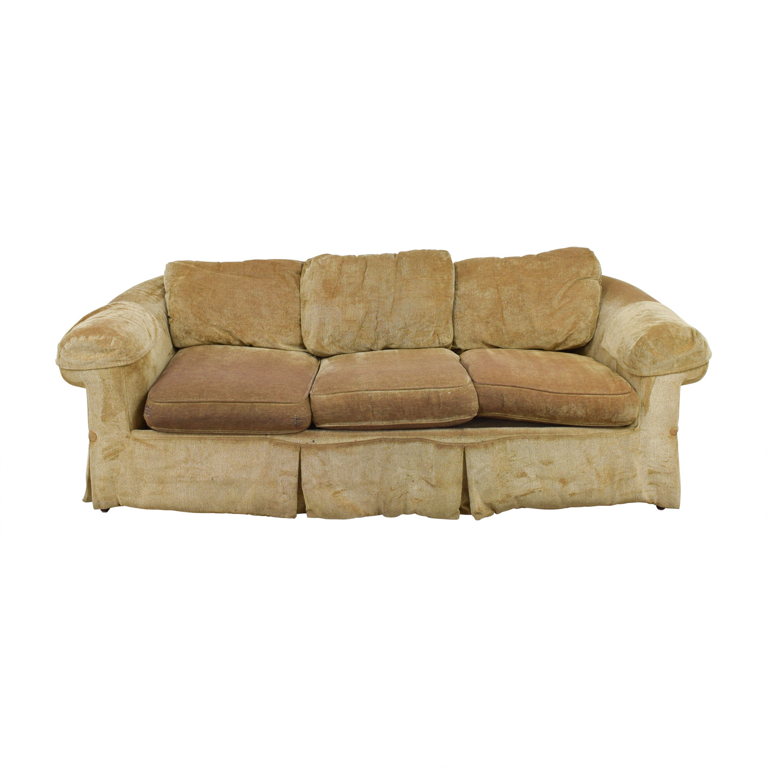 buy Bloomingdale's Tan Three Cushion Skirted Couch Bloomingdale's Sofas