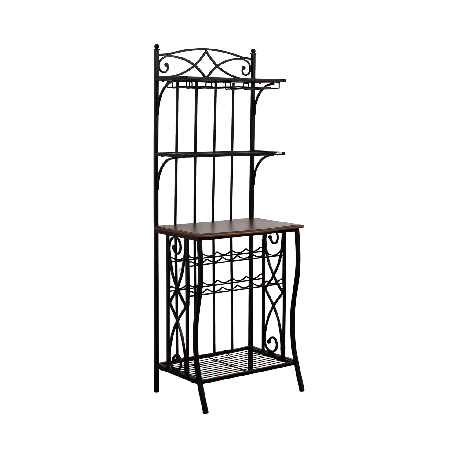 Wood and Metal Standing Pantry Kitchen Organizer discount