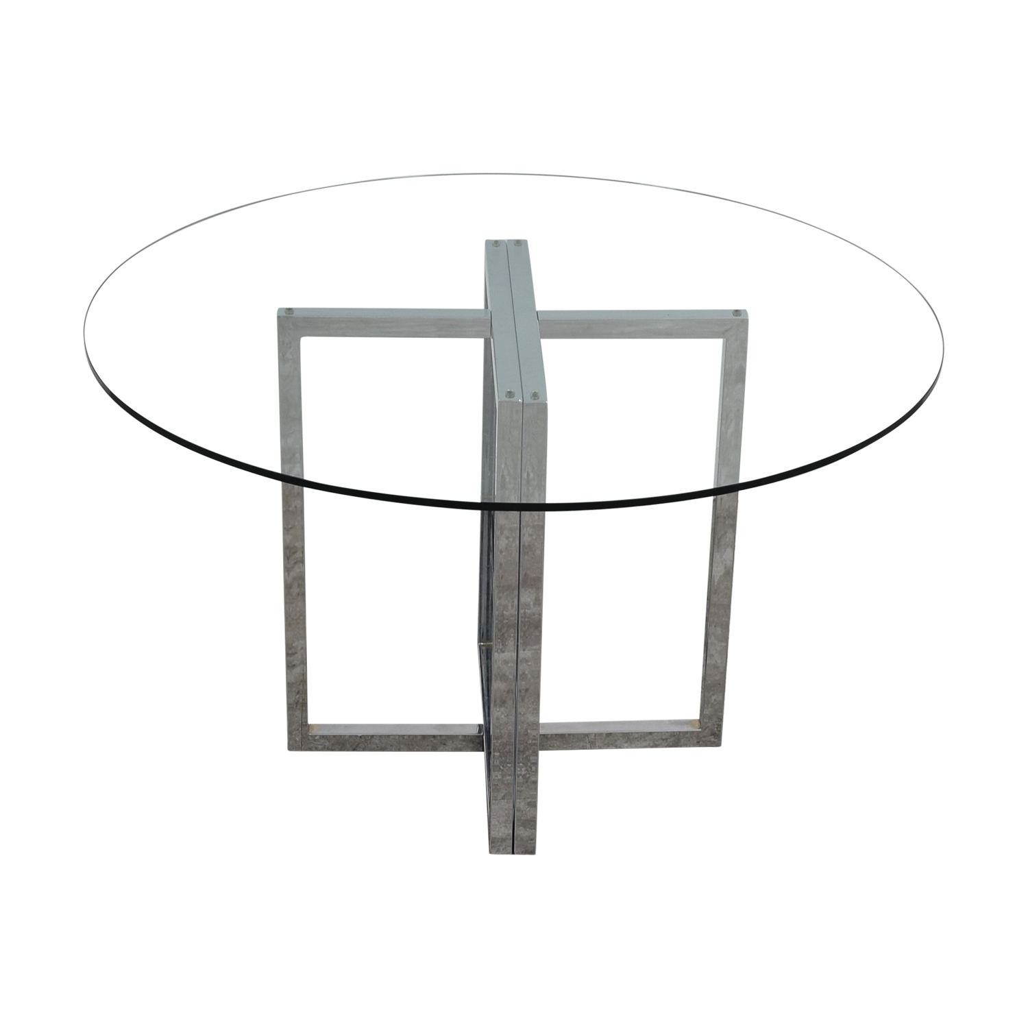 shop CB2 Silverado Glass Round Dining Table CB2