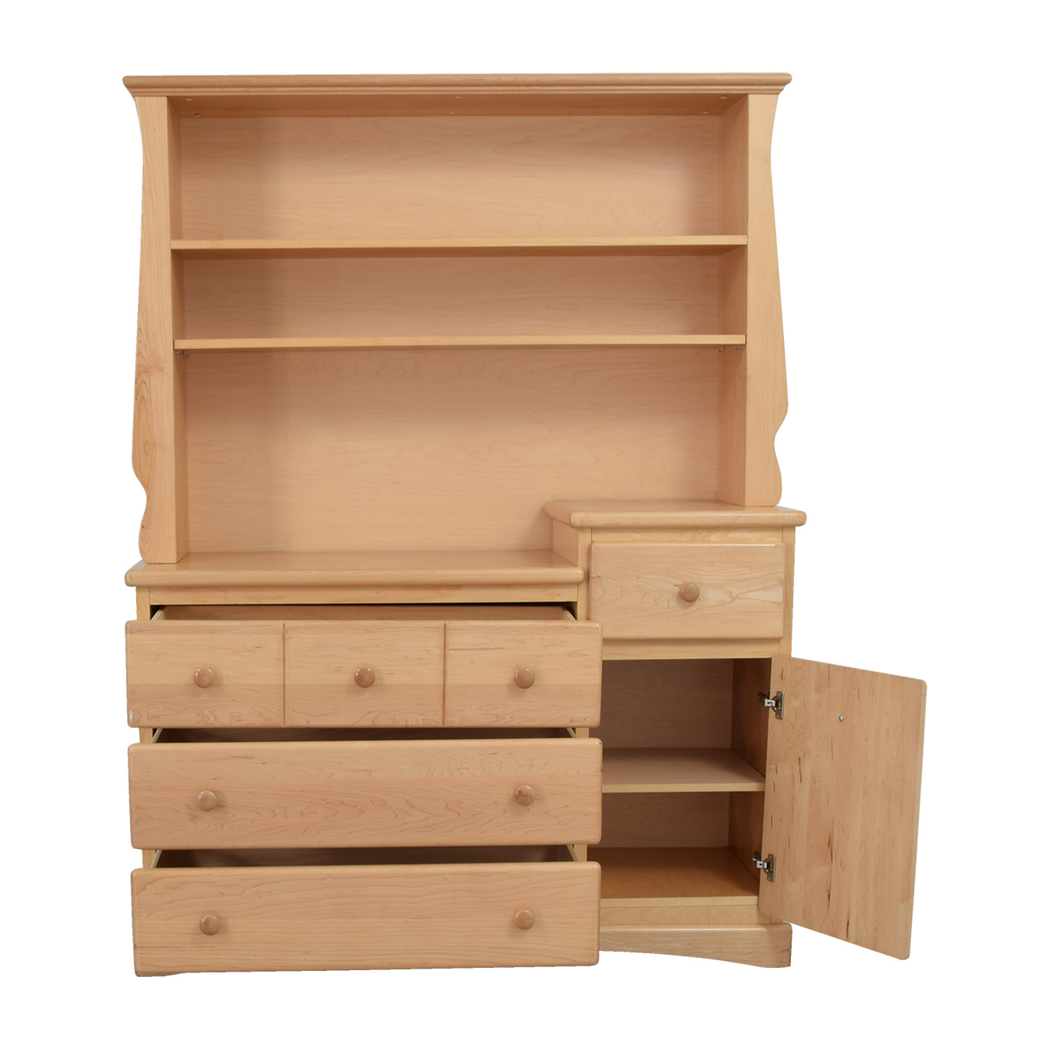 Natural Wood Dresser with Hutch / Dressers