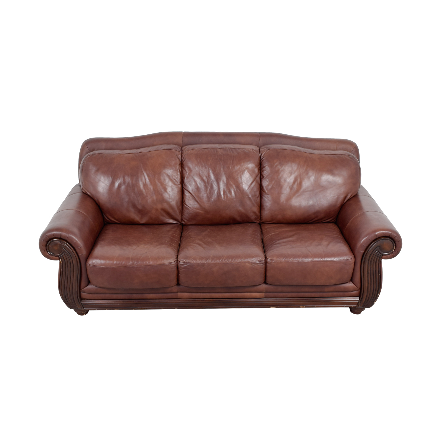 shop Rooms To Go Brown Three -Cushion Leather Couch Rooms To Go Classic Sofas