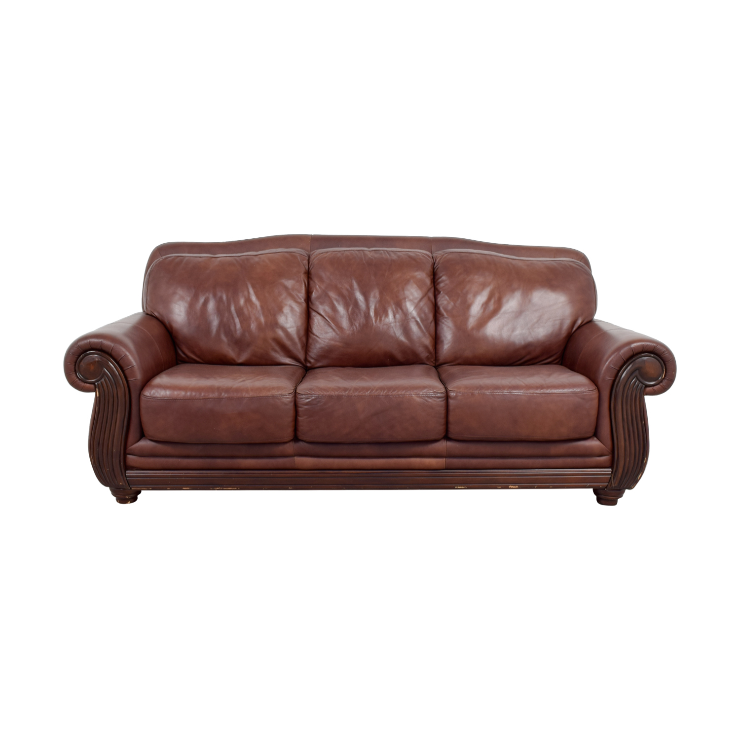 Rooms To Go Rooms To Go Brown Three -Cushion Leather Couch dimensions
