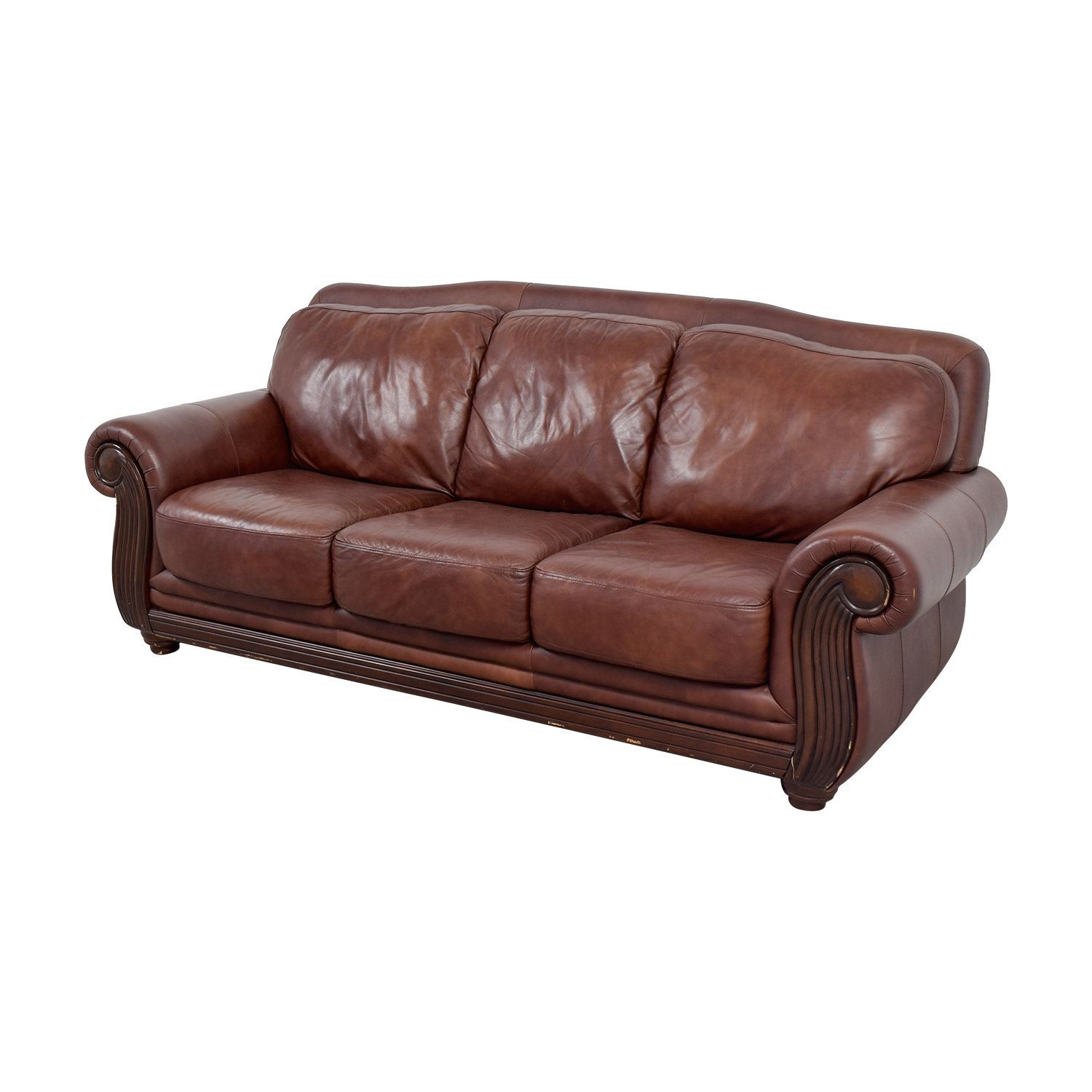 Incredible 69 Off Rooms To Go Rooms To Go Brown Three Cushion Leather Couch Sofas Pabps2019 Chair Design Images Pabps2019Com